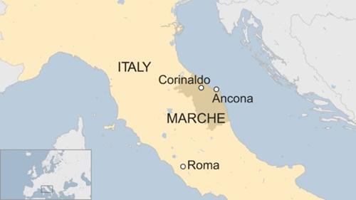 Vị trí thị trấn Corinaldo. Đồ họa: BBC.