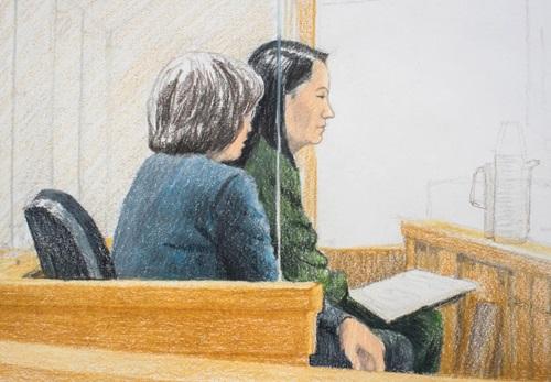 Ảnh phác họa Mạnh Vãn Chu (áo xanh lá) tại phiên điều trần ở Vancouver. Ảnh: Reuters.