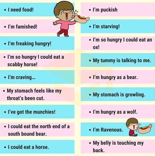 Những cách nói thay thế Im hungry