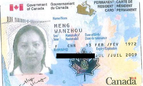 Thẻ thường trú nhân Canada cấp cho bà Mạnh hết hạn từ tháng 7/2009. Ảnh: VancouverSun.