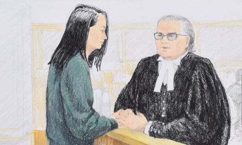 Tranh phác thảo khoảnh khắc Mạnh Vãn Chu (trái) trao đổi với luật sư David Martin khi ra điều trần trước tòa án Canada. Ảnh: Canadian Press.
