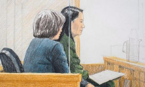 Tranh phác họa Mạnh Vãn Chu (bên phải) trong phiên điều trần hôm 7/12. Ảnh: AFP.