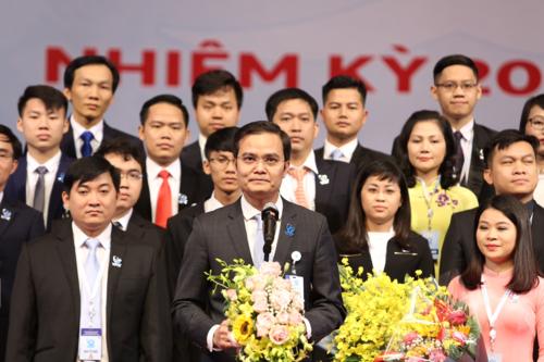 Anh Bùi Quang Huy phát biểu sau khi được bầu làm Chủ tịch Trung ươngHội Sinh viên Việt Nam khóa 10. Ảnh: Trung ương Đoàn