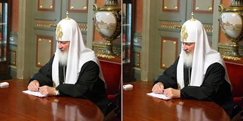 Thượng phụ Kirill trong hai bức ảnh trước và sau khi chiếc đồng hồ hàng hiệu ở tay được chỉnh sửa. Ảnh: NY Times