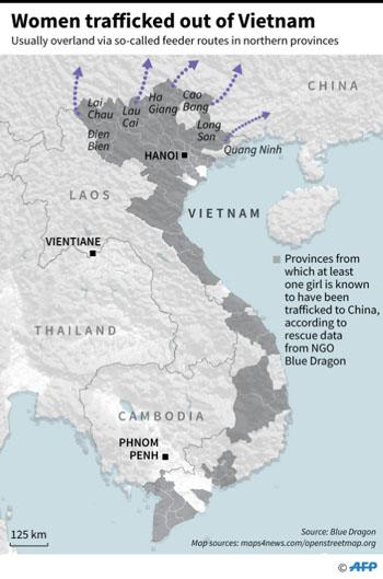 Những con đường buôn bán phụ nữ Việt Nam sang Trung Quốc. Đồ họa: AFP.