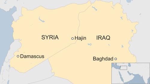 Vị trí túi Hajin ở miền đông Syria. Đồ họa: BBC.