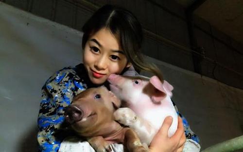 Xiao Fang cùng hai trong số hơn 400 con lợn đang nuôi tại trang trạiở tỉnh Hồ Bắc, miền trung Trung Quốc. Ảnh: Peoples Daily