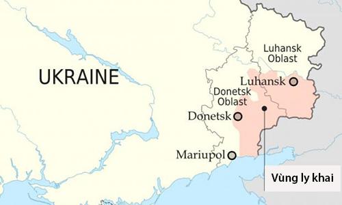 Khu vực ly khai tại miền đông Ukraine (màu cam). Ảnh: Nationalia.