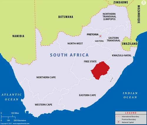 Đất nước màu đỏ nằm trọn trong lòng Cộng Hòa Nam Phi (xám). Ảnh:Mapsofworld