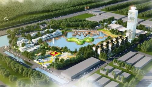 Phối cảnh Chợ Du lịch Huế nằm giáp ranh phường Thủy Dương và phường An Đông. Ảnh:BQLKĐT
