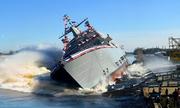 Tàu tác chiến ven biển Mỹ 'lắc mình' trong lễ hạ thủy