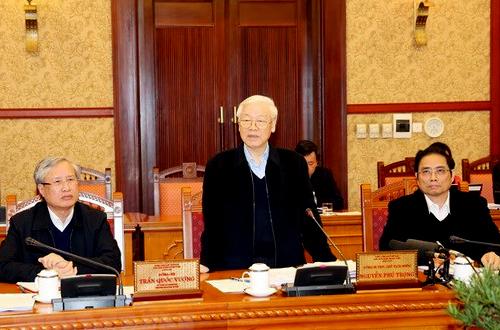 Tổng bí thư, Chủ tịch nước Nguyễn Phú Trọng phát biểu ngày 18/12. Ảnh: TTX