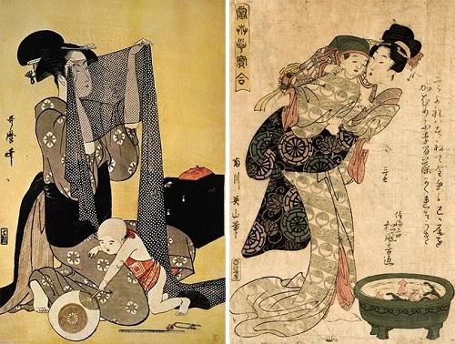 Những tác phẩm nghệ thuật cuối thế kỷ 17, đầu thế kỷ 18 cho thấy mẹ con Nhật Bản quấn quýt bên nhau. Ảnh:Kitagawa Utamaro