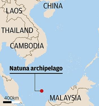 Vị trí của quần đảoNatuna. Đồ họa: SCMP.