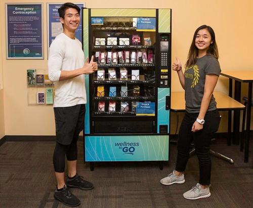 Máy bán thuốc tránh thai và bao cao su tự động ở Đại học California tại Davis. Ảnh: Twitter/UC Davis Love Lab