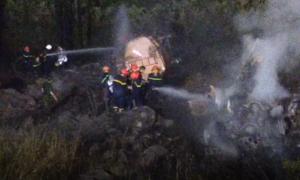Xe bồn chở dầu bốc cháy dưới vực, tài xế tử vong trong cabin