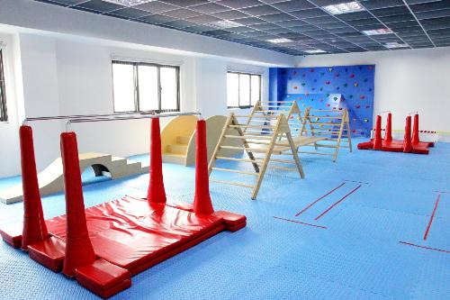 Phòng học thể chất JACPA Nhật Bản được trang bị đầy đủ các giáo cụ, phục vụ tối đa hoạt động học tập của các bạn nhỏ Sakura Montessori.