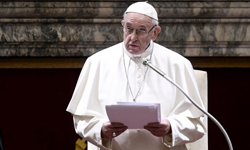 Giáo hoàng Francis phát biểu tại Vatican hôm 21/12. Ảnh: AFP.