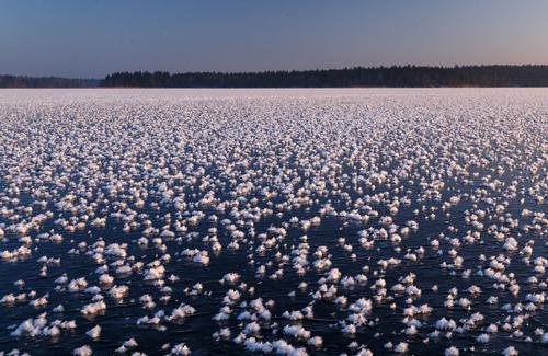 Hoa băng bao phủ mặt hồ Valdai. Ảnh: Timofey Shutov.
