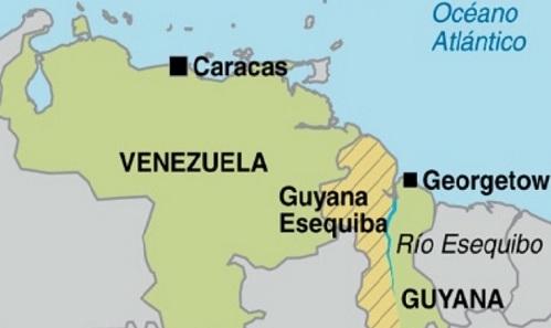 Vị trí khu vực tranh chấp Esequibo (Eseqiba) giữa Venezuela và Guyana. Đồ họa: Carribaen 360.