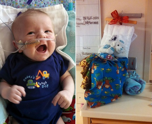 Con trai Caiden Avriett và túi quà Giáng sinh trong bệnh viện năm 2015. Ảnh: Caiden Avriett