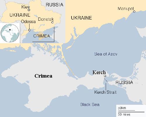 Vị trí eo biển Kerch nối giữa lục địa Nga và bán đảo Crimea. Đồ họa: BBC.