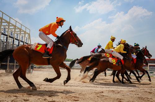Nài ngựa luyện tập tại trường đua ngựa Đại Nam, tỉnh Bình Dương. Ảnh: Thành Nguyễn.