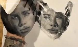 Nghệ thuật in tranh chân dung bằng tay của thầy giáo Mỹ