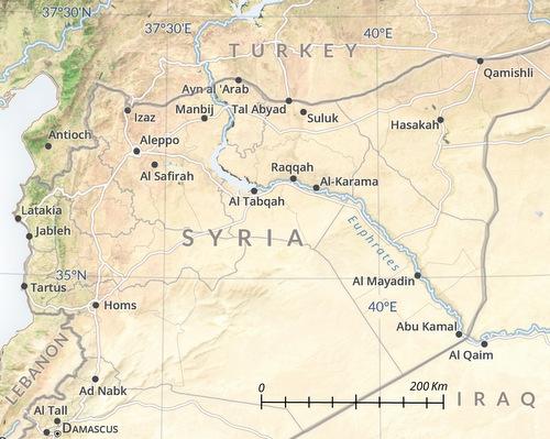 Sông Euphrates là giới tuyến giữa các lực lượng được Nga và Mỹ hậu thuẫn. Đồ họa: USMA.