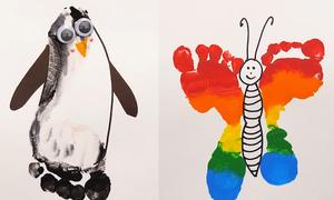 Vẽ con vật bằng cách in hình bàn chân lên giấy