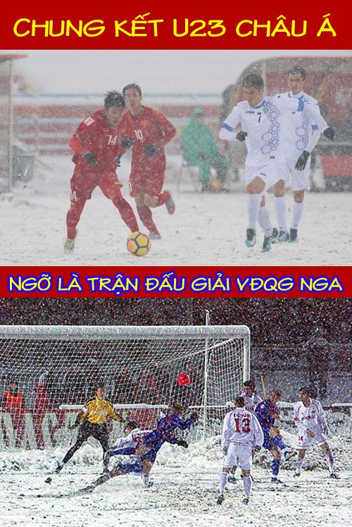 Lần đầu tiên các cầu thủ U23 Việt Nam thi đấu trên mặt sân đầy tuyết.