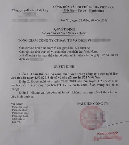... và cả công ty đều đồng loạt được nghỉ để cổ vũ U23 Việt Nam.