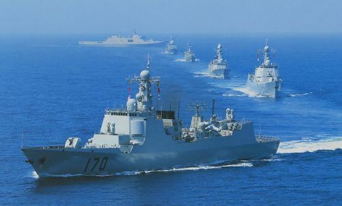 Tàu chiến Trugn Quốc diễn tập hồi năm 2016. Ảnh: Sina.