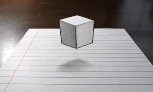 Vẽ khối lập phương 3D lơ lửng trên mặt giấy