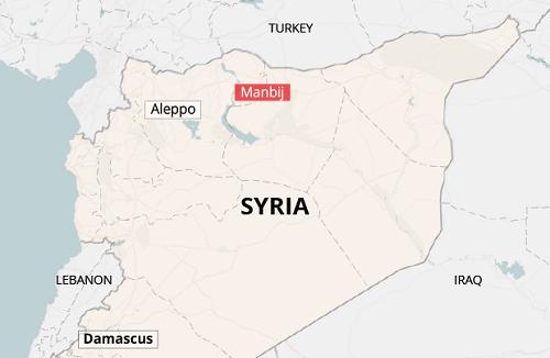 Vị trí khu vực Manbij ở biên giới Syria-Thổ Nhĩ Kỳ. Đồ họa: Global Risk Insights.