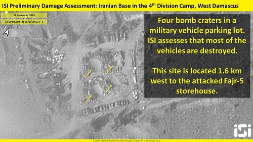 Bãi đỗ xe quân sự gần kho vũ khí cũng bị cày nát bằng 4 hố bom. Ảnh: ISI.