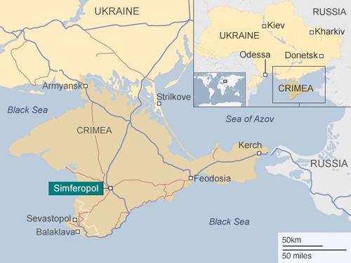Vị trí bán đảo Crimea. Đồ họa: BBC.