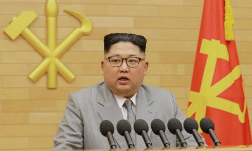 Lãnh đạo Triều Tiên Kim Jong-un phát biểu hồi tháng một. Ảnh: KCNA.