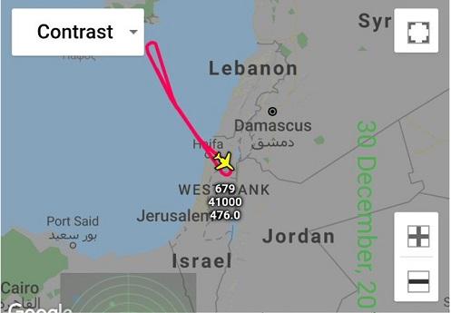 Hành trình của máy bay trinh sát Israel ngày 30/12. Đồ họa: South Front.