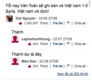 Bình luận mang tính tiên tri của độc giả Dat Nguyen