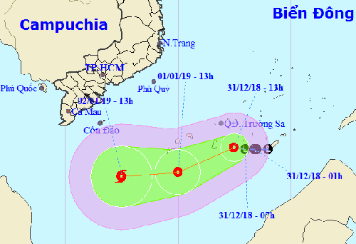 Hướng đi của áp thấp nhiệt đới theo dự báo của Cơ quan khí tượng Việt Nam.