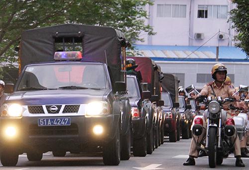 Lực lượng 363 trong ngày đầu ra quân. Ảnh: Công an TP HCM.