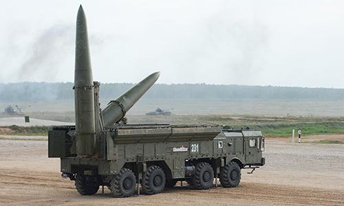 Tổ hợp tên lửa Iskander tham gia tập trận tại Nga. Ảnh: RIA Novosti.