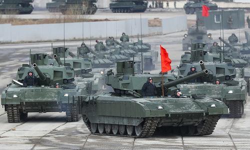 Siêu tăng Armata T-14 tập duyệt binh hồi tháng 4/2018. Ảnh: TASS.