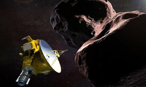 Mô phỏng khoảnh khắc tàu New Horizons bay qua vật thể cổ xưa Ultima Thule. Ảnh: NASA.