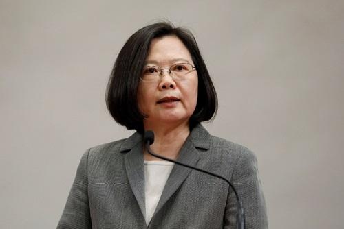 Lãnh đạo Đài Loan Thái Anh Văn trong cuộc họp báo ở Đài Bắc tháng 4/2018. Ảnh: Reuters.