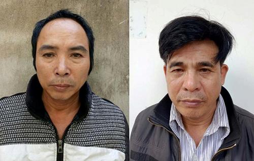 Đỗ Như Tài (bên trái) và đồng phạm tại cơ quan điều tra.