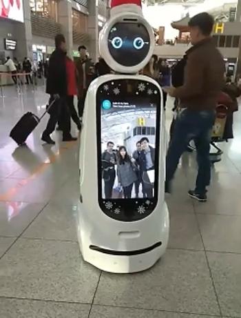 Robot dẫn đường ở sân bay Incheon, Hàn Quốc.