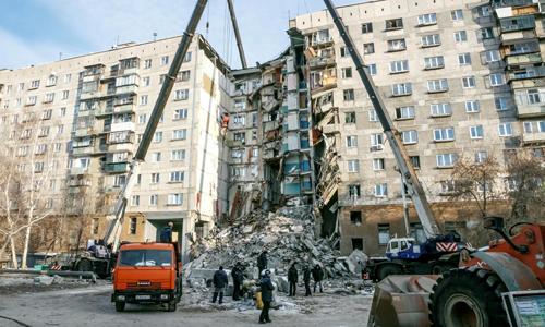 Hiện trường vụ nổ khí gas tại tòa chung cư ở thành phố Magnitogorsk, Nga. Ảnh: Reuters.