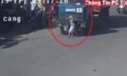 Xe đạp sang đường gây họa cho tài xế container